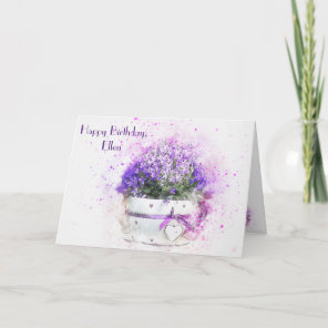 Feminine floral watercolor birthday card