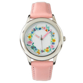 Feminine floral wreath Ladies Watch