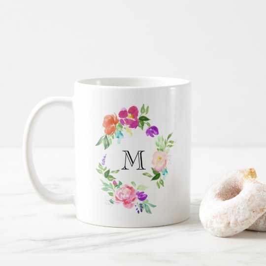 Feminine Floral Wreath Personalised Monogram Coffee Mug