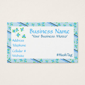 Feminine Flowered Business Card In Blues