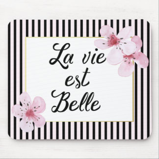 Feminine French Pink and Black Stripes and Flowers Mouse Pad