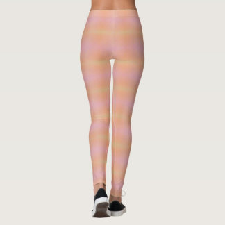 Feminine Girly Pink Peach Horizontal Stripes Leggings