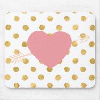 Feminine Gold Dot & Heart Mousepad