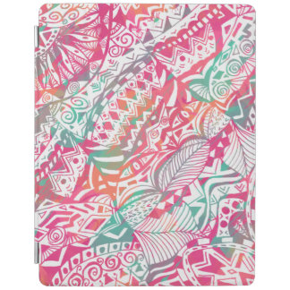 feminine hand drawn pink tribal floral pattern iPad cover