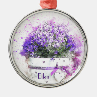 Feminine, lavender and purple flowers bouquet christmas ornament