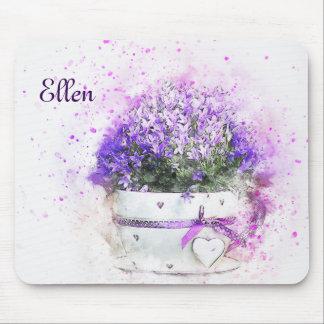Feminine, lavender and purple flowers bouquet mouse mat