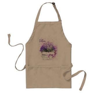 Feminine, lavender and purple flowers bouquet standard apron