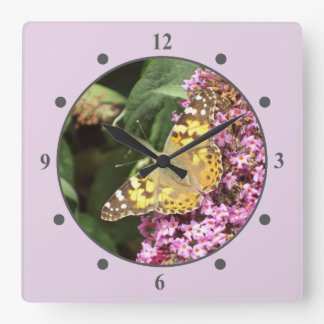 Feminine Painted Lady Butterfly Square Wall Clock