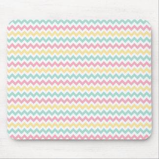 Feminine Pastel Chevron Striped Mousepad