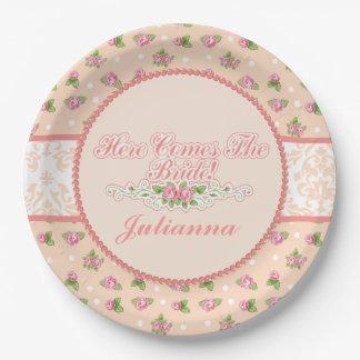 Feminine Peach Floral, Bridal Shower 9 Inch Paper Plate