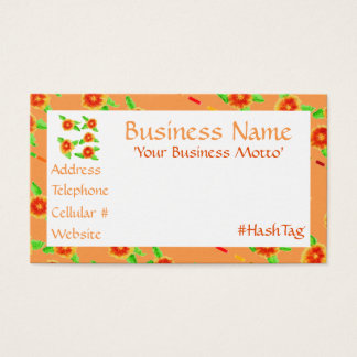 Feminine Peach Orange Floral Business Card
