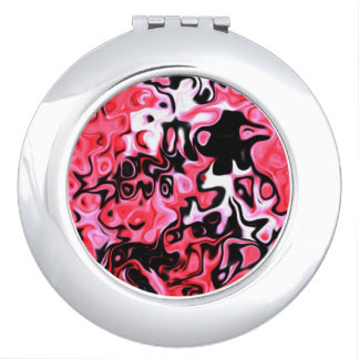 Feminine Pink and BLack Abstract compact 323 Travel Mirror