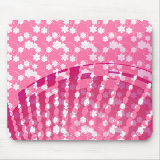 Feminine Pink and White Flowers Mouse Pads