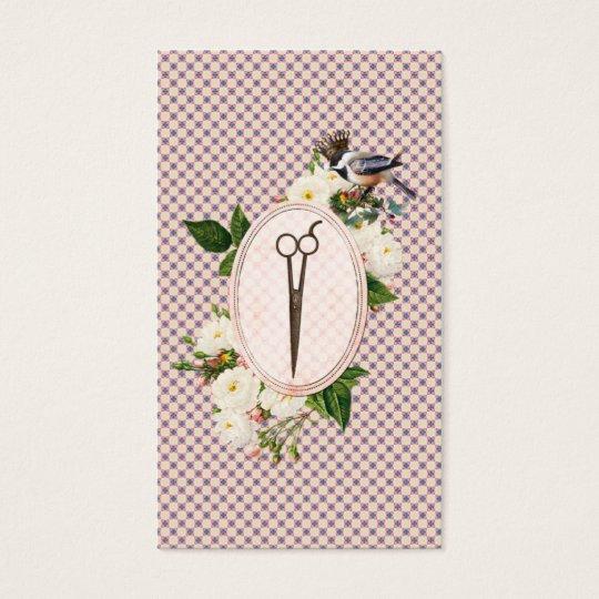 feminine pink birds floral scissors hairstylist business card