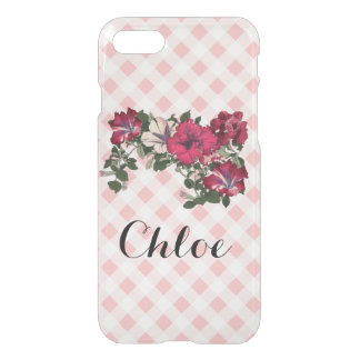 Feminine Pink Gingham and Petunias iPhone 8/7 Case