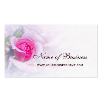 Feminine Pink Rose Flower Elegant Floral Business Card Templates