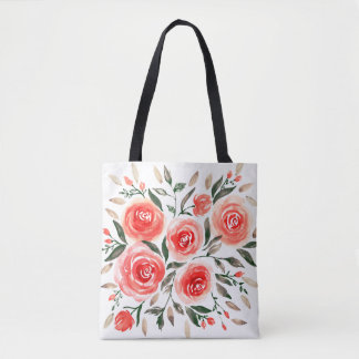 Feminine Pink Roses Watercolor Floral Illustration Tote Bag