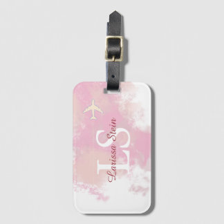 feminine pink watercolor personalized luggage tag