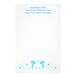 Feminine Pretty Blue Swirls and Curls Stationery Paper