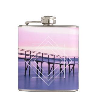 Feminine Purple & Pink Sunset with Geometric Shape Hip Flask