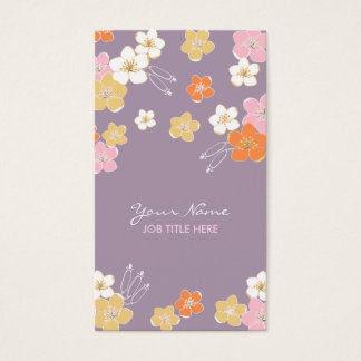 Feminine purple pink white hawaiian exotic flowers business card
