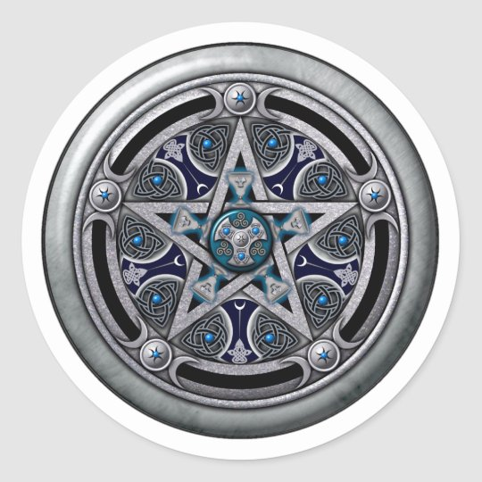 Feminine Silver Pagan Pentacle Classic Round Sticker