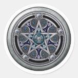 Feminine Silver Pagan Pentacle Round Sticker