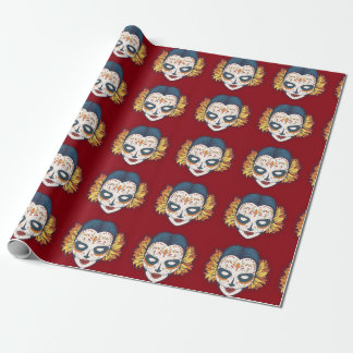Feminine Sugar Skull on Deep Red Wrapping Paper