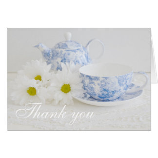 Feminine Tea Cup and Daisies Thank You Cards