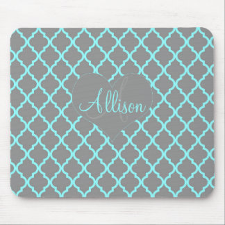 Feminine Teal Arabesque Personalized Mousepad