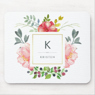 Feminine Trendy Watercolor Peony Flowers Monogram Mouse Mat