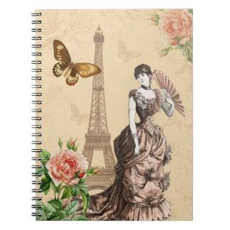 Feminine vintage fashion notebook with flowers
