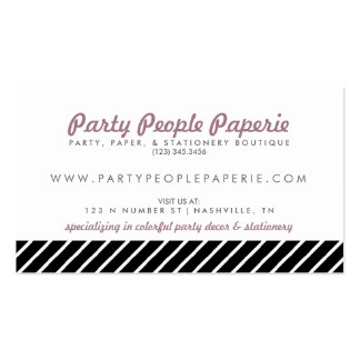 Feminine Vintage Inspired Striped Typographic Pack Of Standard Business Cards