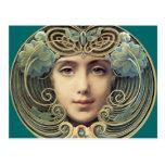 Feminine Vintage Nouveau Beauty Postcard