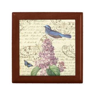 Feminine vintage small box with bird and lilac