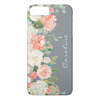 Feminine Watercolor Floral on Gray with Monogram iPhone 8 Plus/7 Plus Case