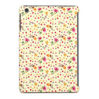 Feminine Watercolor Hearts and Flowers iPad Mini Cover