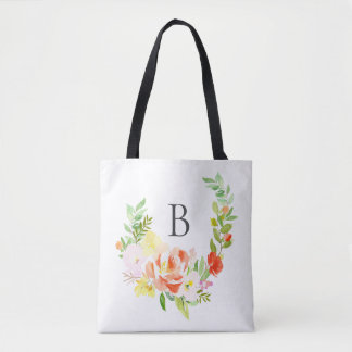 Feminine Watercolor Peach Peonies Wreath Monogram Tote Bag