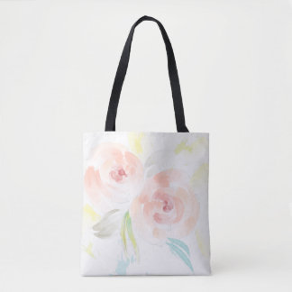 Feminine Watercolor Roses Tote Bag