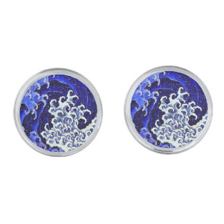 Feminine Wave by Hokusai Silver Finish Cuff Links