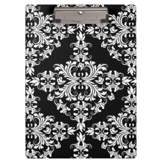 Feminine White on Black Damask Clipboard