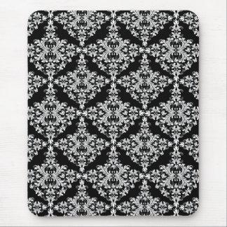 Feminine White on Black Damask Mousepad