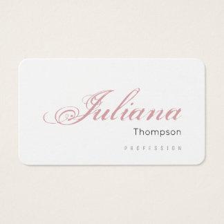 feminine white prof women business card