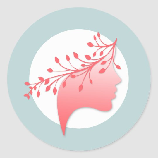 Feminine Woman Silhouette Logo Coral and Blue Classic Round Sticker