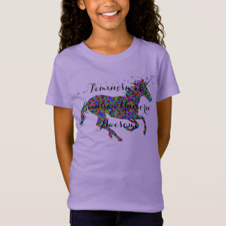 Feminism is Rainbow Unicorn Awesome Girls T-Shirt