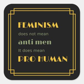 Feminism yellow text pro human inspiring square sticker