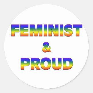 Feminist and Proud Classic Round Sticker