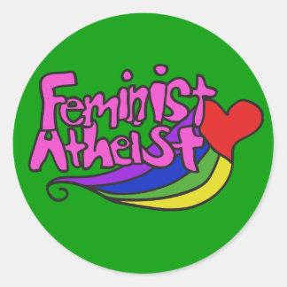 Feminist atheist round sticker