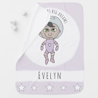 Feminist Baby Girl Astronaut Dream Doodle and Name Baby Blanket