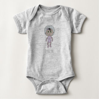 Feminist Baby Girl Astronaut Dream Doodle and Name Baby Bodysuit